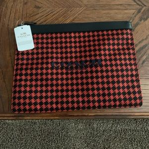 Coach red houndstooth tablet case